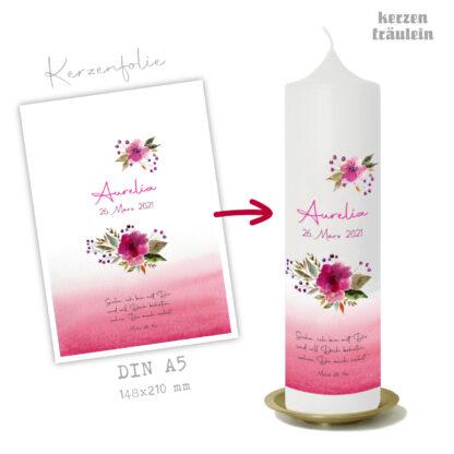 """Design Taufkerze """"Watercolor Flowers"""" auf Kerzengröße 25x7 cm - kerzenfräulein"""
