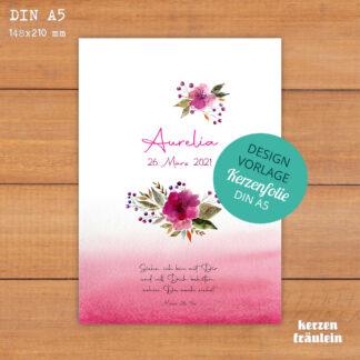 """Design-Vorlage Taufkerze """"Watercolor Flowers"""" - Kerzenfolie DIN A5 - kerzenfräulein"""