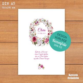 """Design-Vorlage Taufkerze """"Wild Roses"""" - Kerzenfolie DIN A5 - kerzenfräulein"""