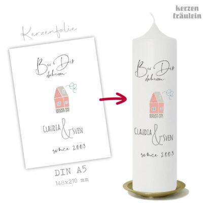 """Design Hochzeitskerze """"Bei Dir daheim"""" auf Kerzengröße 25x7 cm - kerzenfräulein"""