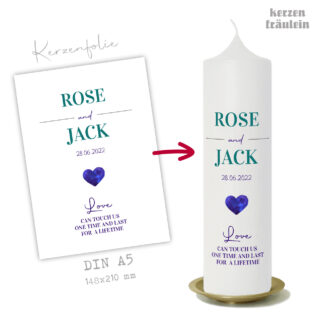 """Design Hochzeitskerze """"Blue Heart"""" auf Kerzengröße 25x7 cm - kerzenfräulein"""