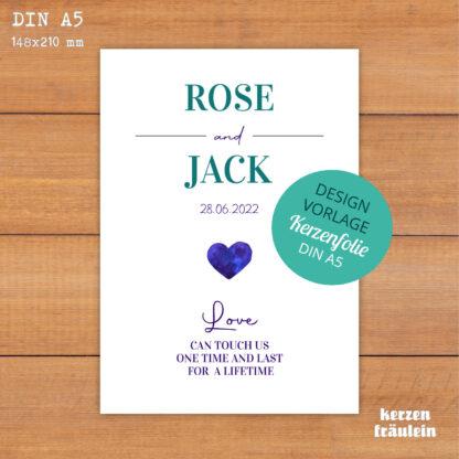"""Design-Vorlage Hochzeitskerze """"Blue Heart"""" - DIN A5 - kerzenfräulein"""