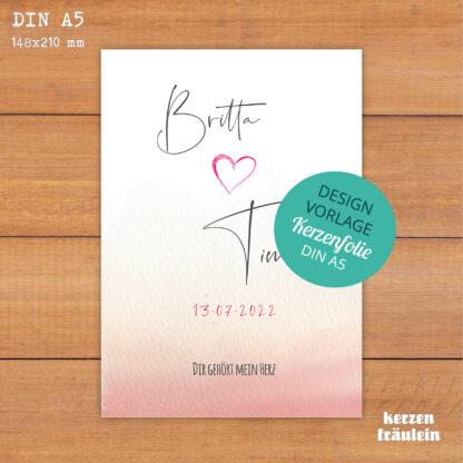 """Design-Vorlage Hochzeitskerze """"Dir gehört mein Herz"""" - DIN A5 - kerzenfräulein"""