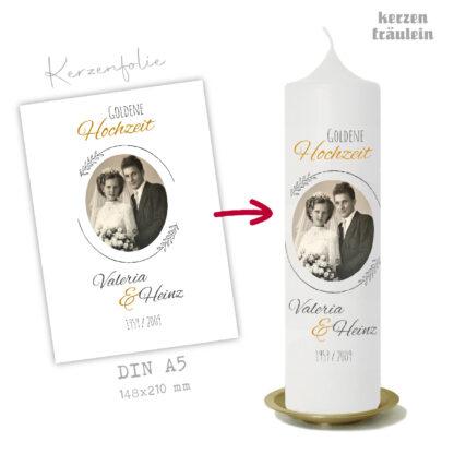 """Design Hochzeitskerze """"Goldene Hochzeit"""" auf Kerzengröße 25x7 cm - kerzenfräulein"""