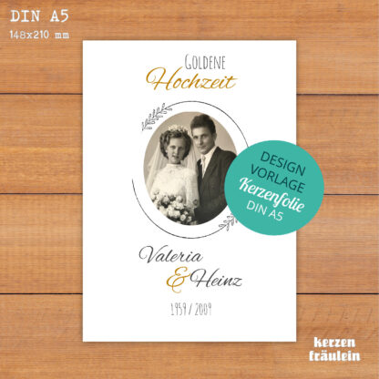 """Design-Vorlage Hochzeitskerze """"Goldene Hochzeit"""" - DIN A5 - kerzenfräulein"""