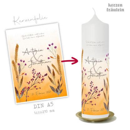 """Design Hochzeitskerze """"Grasses & Berries"""" auf Kerzengröße 25x7 cm"""