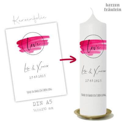 """Design Hochzeitskerze """"Love"""" auf Kerzengröße 25x7 cm"""