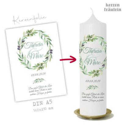 """Design Hochzeitskerze """"Olivenkranz"""" auf Kerzengröße 25x7 cm - kerzenfräulein"""