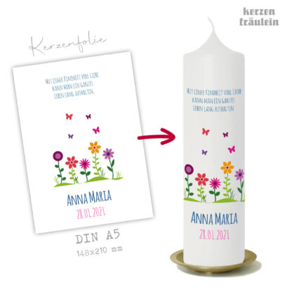 """Design Taufkerze """"Blumenwiese"""" auf Kerzengröße 25x7 cm - kerzenfräulein"""