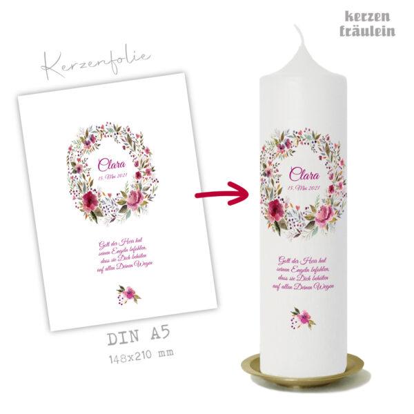 "Design Taufkerze ""Wild Roses"" auf Kerzengröße 25x7 cm - kerzenfräulein"