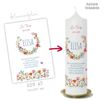 """Design Taufkerze """"Wildblumen"""" auf Kerzengröße 25x7 cm - kerzenfräulein"""