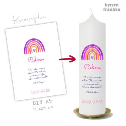 """Design Trauerkerze """"Regenbogen (pink)"""" auf Kerzengröße 25x7 cm - kerzenfräulein"""