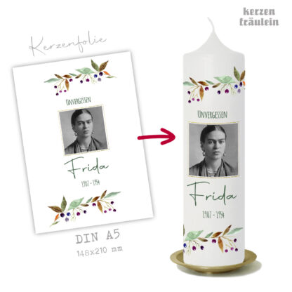 """Design Trauerkerze """"Unvergessen"""" auf Kerzengröße 25x7 cm - kerzenfräulein"""
