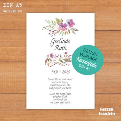 """Design-Vorlage Trauerkerze """"Watercolor Blossoms"""" DIN A5 - kerzenfräulein"""
