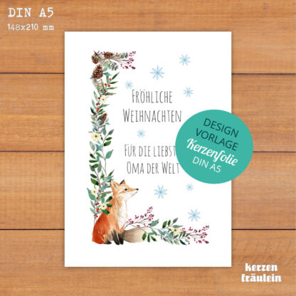 """Design-Vorlage Weihnachtskerze """"Weihnachtsgruß mit Fuchs"""" - Kerzenfolie DIN A5 - kerzenfräulein"""