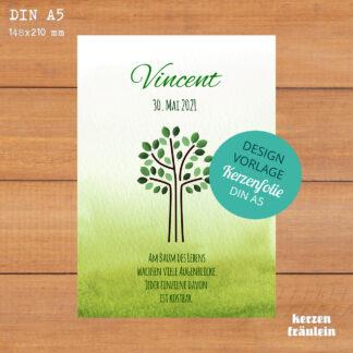 """Design-Vorlage Taufkerze """"Lebensbaum (grün)"""" DIN A5 - kerzenfräulein"""