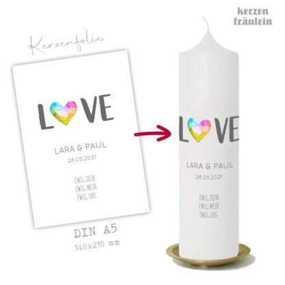 """Design Hochzeitskerze """"Ewig Dein"""" auf Kerzengröße 25x7 cm - kerzenfräulein"""