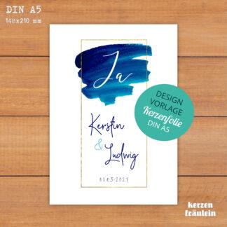 """Design-Vorlage Hochzeitskerze """"Ja"""" - DIN A5 - kerzenfräulein"""