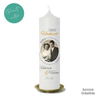 """Hochzeitskerze Printmotiv """"Goldene Hochzeit"""" auf Kerzengröße 25x7 cm - kerzenfräulein"""