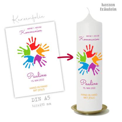 """Design Kommunionkerze """"Hand in Hand mit Jesus"""" auf Kerzengröße 25x7 cm - kerzenfräulein"""