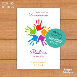 """Design-Vorlage Kommunionkerze """"Hand in Hand mit Jesus"""" - DIN A5 - kerzenfräulein"""