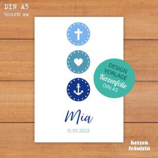 """Design-Vorlage Taufkerze Kommunionkerze """"Glaube Liebe Hoffnung (blau)"""" - DIN A5 - kerzenfräulein"""