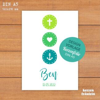 """Design-Vorlage Taufkerze Kommunionkerze """"Glaube Liebe Hoffnung (grün)"""" - DIN A5 - kerzenfräulein"""