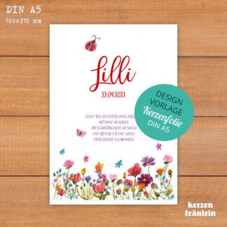 "Design-Vorlage Taufkerze ""Schmetterlingswiese"" - DIN A5 - kerzenfräulein"