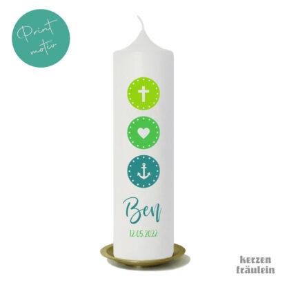 """Taufkerze Kommunionkerze Printmotiv """"Glaube Liebe Hoffnung (grün)"""" auf Kerzengröße 25x7 cm - kerzenfräulein"""