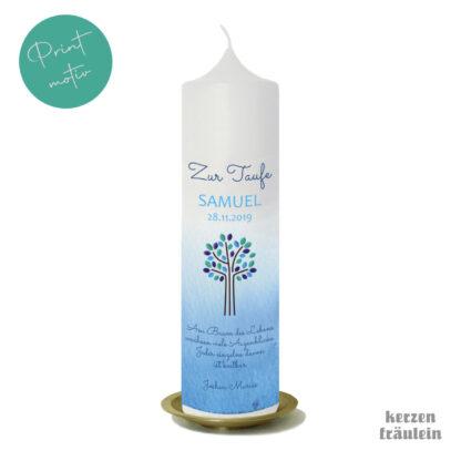 "Taufkerze Printmotiv ""Lebensbaum (blau)"" auf Kerzengröße 25x7 cm - kerzenfräulein"