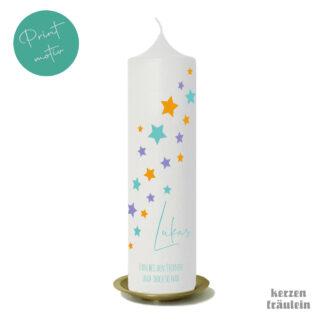 """Trauerkerze Printmotiv """"Das """"Fern bei den Sternen"""" auf Kerzengröße 25x7 cm - kerzenfräulein"""