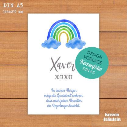 """Design-Vorlage Taufkerze """"Rainbow (blau)"""" - DIN A5 - kerzenfräulein"""