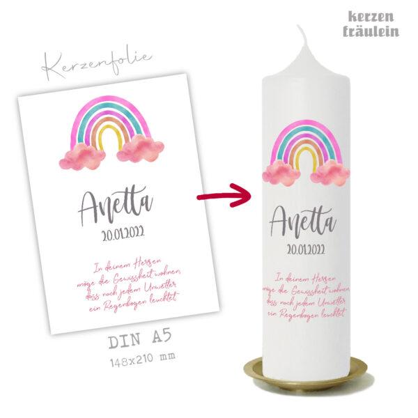 """Design-Vorlage Taufkerze """"Rainbow (rosa)"""" auf Kerzengröße 25x7 cm- kerzenfräulein"""