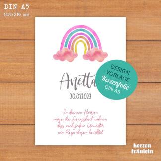 """Design-Vorlage Taufkerze """"Rainbow (rosa)"""" - DIN A5 - kerzenfräulein"""
