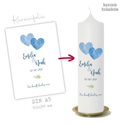 """Design-Vorlage Hochzeitskerze """"Two Hearts Beat As One"""" auf Kerzengröße 25x7 cm- kerzenfräulein"""
