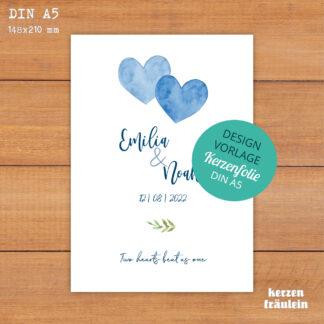 """Design-Vorlage Hochzeitskerze """"Two Hearts Beat As One"""" - kerzenfräulein"""